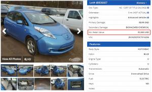 Nissan Leaf после ДТП в США